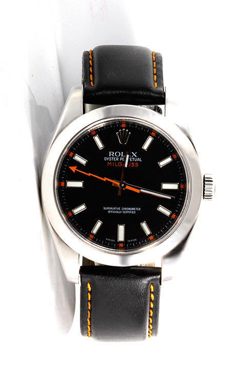 """Image of """"Rolex Milgauss 116400 Stainless Steel Black Dial Black Leather Strap"""""""