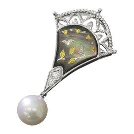 Mikimoto 18K White Gold Pique Shell Akoya Pearl Diamond Pendant