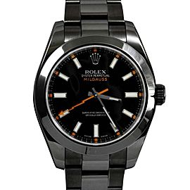 Rolex Milgauss 116400 DLC/PVD Stainless Steel Black Dial w/ Thunderbolt Hand- Oyster Band 40mm Mens Watch