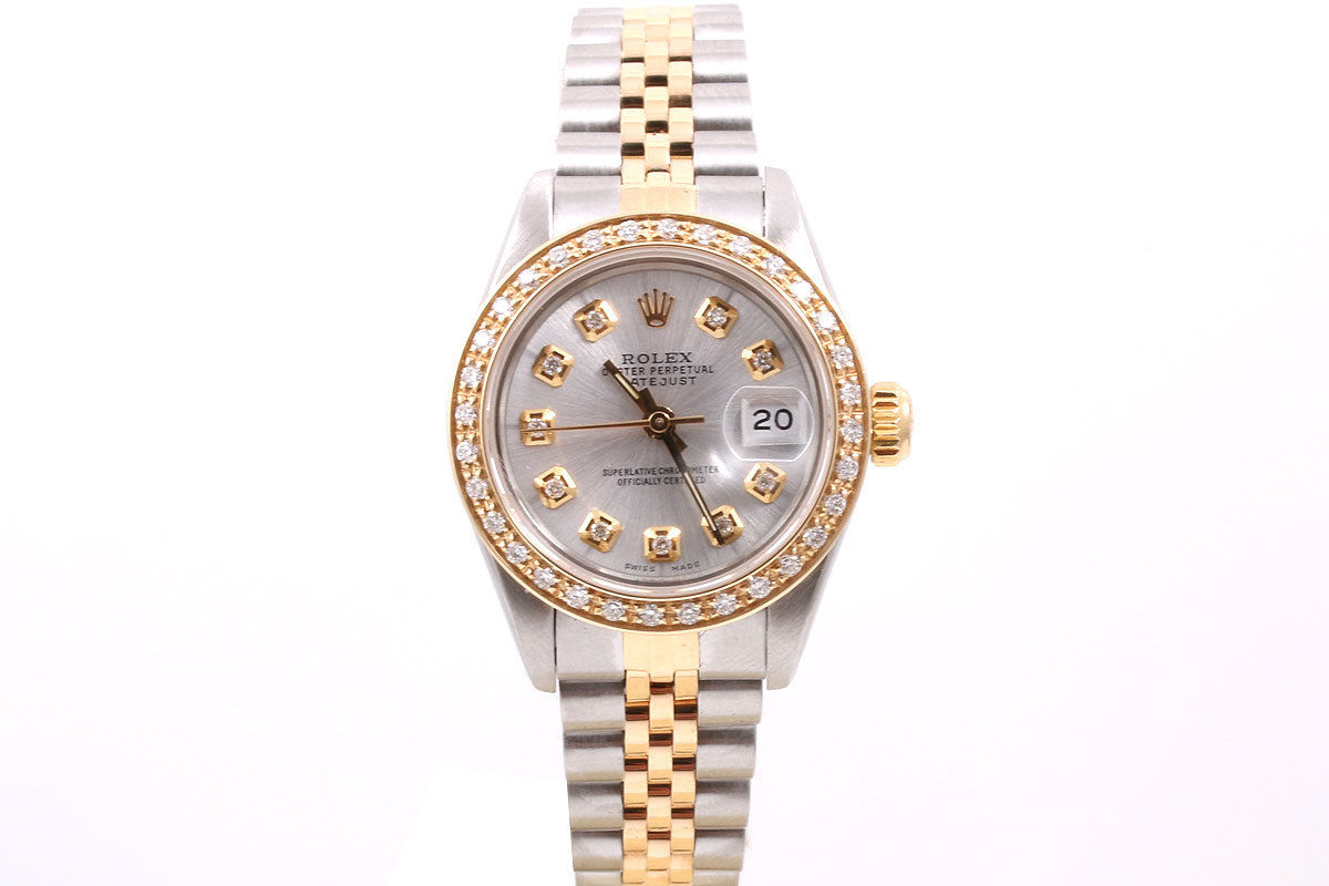 """Image of """"Rolex Datejust 18K Yellow Gold & Stainless Steel Silver Diamond Dial &"""""""