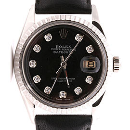 Rolex Datejust Stainless Steel and 18K White Gold Black Diamond Dial Black Leather Strap 36mm Watch