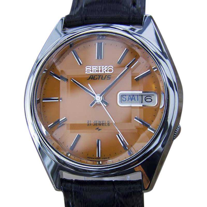 """Image of """"Seiko Actus 5 Stainless Steel & Leather Automatic 38mm Mens Watch 1970"""""""