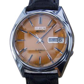 Seiko Actus 5 Stainless Steel & Leather Automatic 38mm Mens Watch 1970