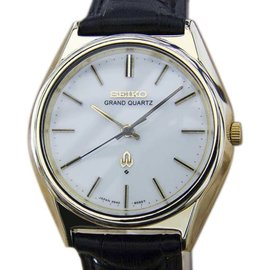 Seiko Grand Gold Capped and Stainless Steel & Leather Quartz 38mm Mens Watch 1980