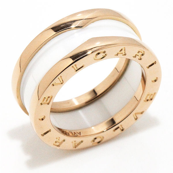 """Image of """"Bulgari 18K Pink Gold & White Ceramic B-Zero1 Ring Size 5.0"""""""