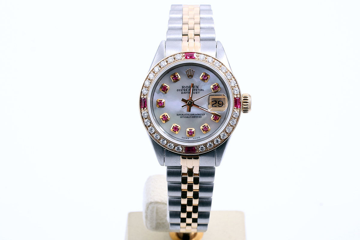 """Image of """"Rolex Datejust 18K/Stainless Steel Mother of Pearl Ruby Dial & Diamond"""""""