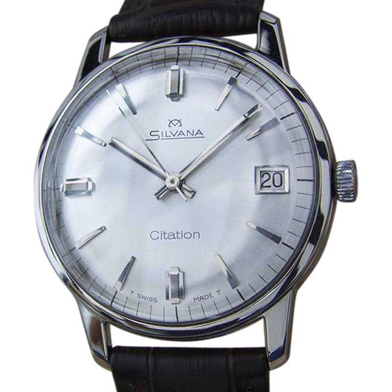 "Image of ""Silvana Citation Stainless Steel & Leather Manual 35mm Men's Watch"""