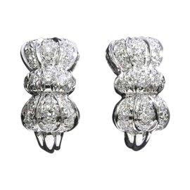 Boucheron 18K White Gold Ribbon Motif Diamond Earrings