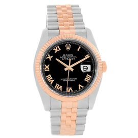 Rolex Datejust 116231 Stainless Steel 18K Rose Gold Black Roman Dial 36mm Mens Watch