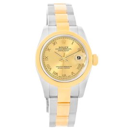 Rolex Datejust 179163 Stainless Steel & 18K Yellow Gold Roman Dial 26mm Womens Watch