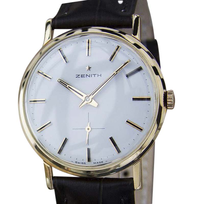 "Image of ""Zenith 18K Rose Gold / Leather Vintage 33mm Mens Watch"""