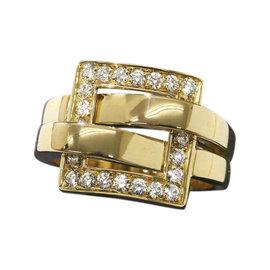 Boucheron 18K Yellow Gold Dejeuner Diamond Ring Size 5.75