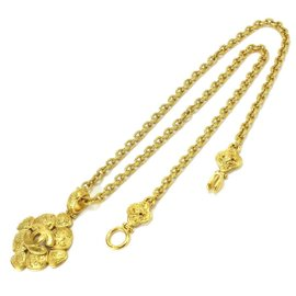 Chanel Gold Tone Metal Coco-Mark Necklace