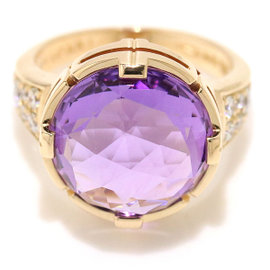 Bulgari 18K Pink Gold with Amethyst & Diamonds Parenteshi Cocktail Ring