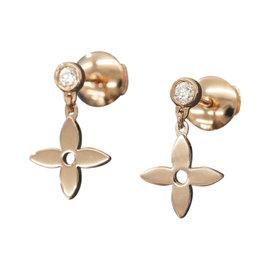 Louis Vuitton 18K Rose Gold & Diamond Monogram Idylle Earrings