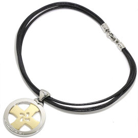 Bulgari 750 18K Yellow Gold & Stainless Steel Tondo Cross Leather Choker Necklace