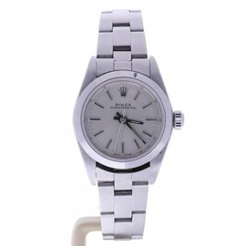 Rolex Oyster Perpetual 76080 Stainless Steel Silver Dial Automatic 26mm Womens Watch