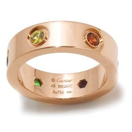 Cartier Love 18K Rose Gold Multi-Stone Ring Size 4.75