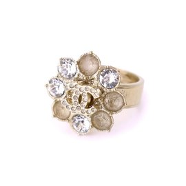 Chanel Gold Tone Metal Coco Mark Flower Ring Size 5.75