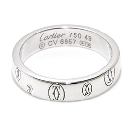 Cartier Happy Birthday 18K White Gold Ring Size 4.75
