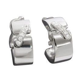 Chaumet Liens 18K White Gold Diamond Hoop Earrings