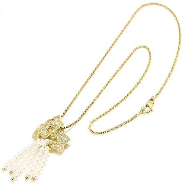 "Image of ""Dior 18k Yellow Gold Pearl and Diamond Necklace/Brooch"""
