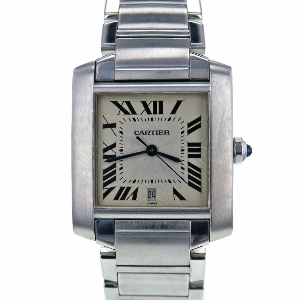 "Image of ""Cartier Tank Francaise W51002Q3 Stainless Steel White Dial 32mm Men's"""