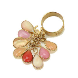 Chanel Bijou 03P Gold Tone Metal Ring Size 5.75