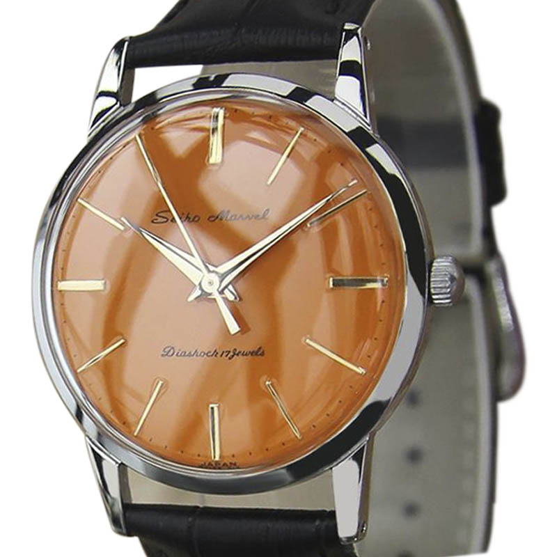 """Image of """"Seiko Marvel Stainless Steel & Leather Manual Vintage 33mm Mens Watch"""""""