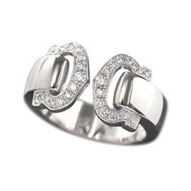 Cartier 2C Diamond 18K White Gold Ring Size 3.75