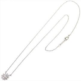 Tiffany & Co. Platinum Diamond Flower Motif Necklace