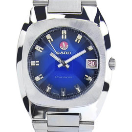Rado Scheidegg Stainless Steel Blue Dial Automatic 35mm Mens Watch 1970s