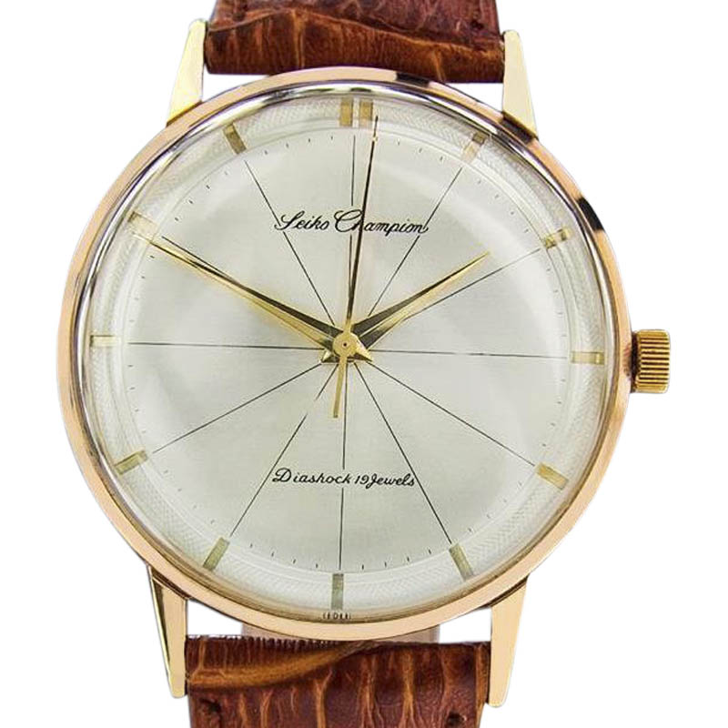 "Image of ""Seiko Champion Diashock Gold Plated Stainless Steel & Leather Manual"""