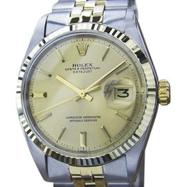 Rolex Oyster Perpetual Stainless Steel / 14K Yellow Gold with Yellow Dial Vintage 36mm Mens Watch