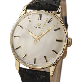 Omega 18K Yellow Gold / Leather with White Dial Vintage 33mm Mens Watch