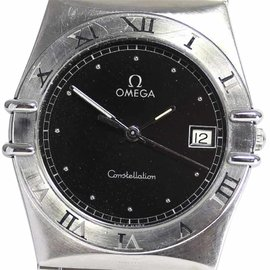 Omega Constellation Stainless Steel Quartz Black 33mm Mens Wrist Watch
