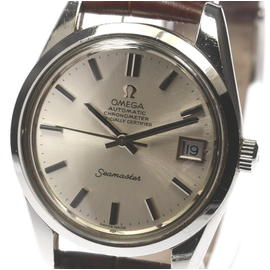 Omega Seamaster Stainless Steel / Leather with Silver Dial 34mm Mens Watch