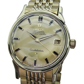 Omega Constellation Gold Plated Stainless Steel with Yellow Dial Vintage 35mm Mens Watch