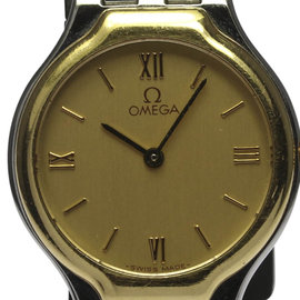 Omega Deville Stainless Steel / 18K Yellow Gold Quartz 23mm Womens Wrist Watch