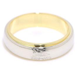 Burberry 18K Yellow Gold & 900 Platinum Logo Ring Size 7.5