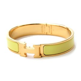 Hermes Yellow Gold Plated Enamel Clic Clac H Bangle Cuff Bracelet