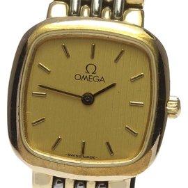 Omega Deville 2 tone Stainless Steel/Yellow Gold Quartz 21mm Womens Wrist Watch