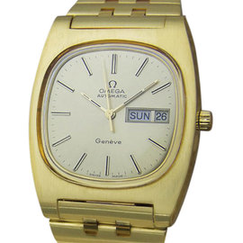 Omega Geneve Gold Plated Stainless Steel with Yellow Dial Vintage 36mm Mens Watch