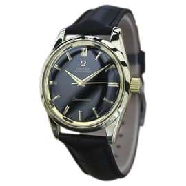 Omega Seamaster 14K Gold & Leather Black Dial Automatic 34mm Mens Watch 1960s