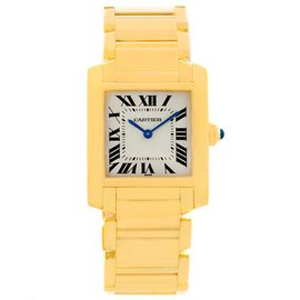 Cartier Tank Francaise W50003N2 18K Yellow Gold & Silver Dial 25mm Womens Watch