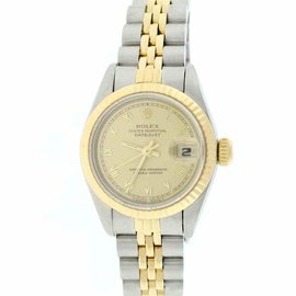 Rolex Datejust 69173 18K Yellow Gold & Stainless Steel Champagne Roman Dial 26mm Womens Watch