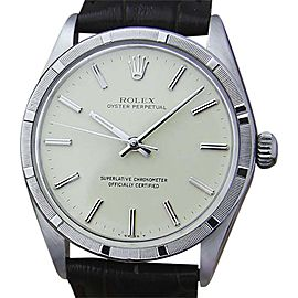 Rolex Oyster Perpetual 1007 Stainless Steel Vintage 34mm Mens Watch