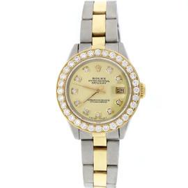 Rolex Datejust 18K Yellow Gold & Stainless Steel Diamond Dial & Bezel 26mm Womens Watch