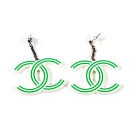 Chanel Silver Tone Hardware & Plastic CC Logo Striped Earrings