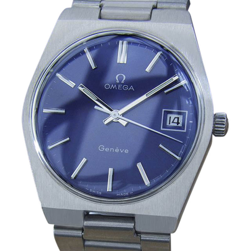 """Image of """"Omega Geneve Mx45 Stainless Steel with Blue Dial Vintage 35mm Mens"""""""